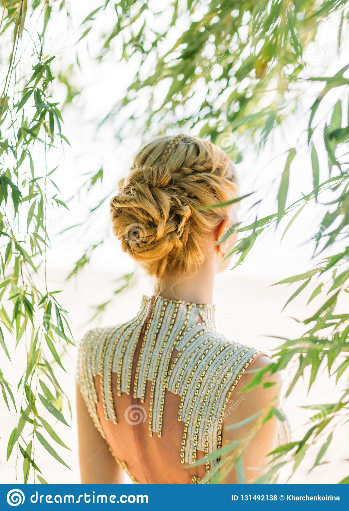 Attractive Woman With Straight Blond Blond Hair Braided In A Soft Hairstyle Of Braids For A Princess Or Elf Neat Stock Photo Image Of Attractive Fairy 131492138