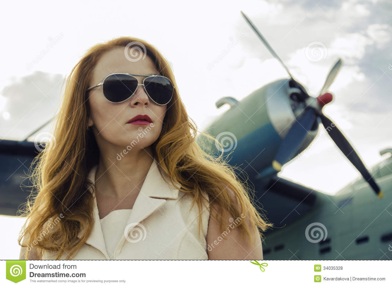 Download Attractive Woman In Sunglasses Outside Near Military Plane Stock Photo - Image of female, stewardess: 34035328
