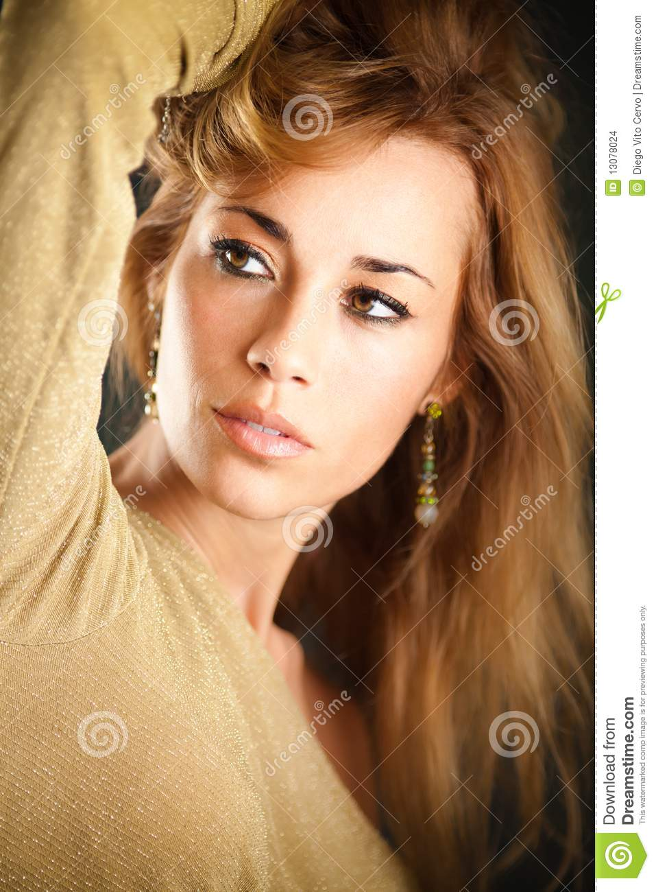 Attractive Woman Touching Hair Stock Photo - Image of look