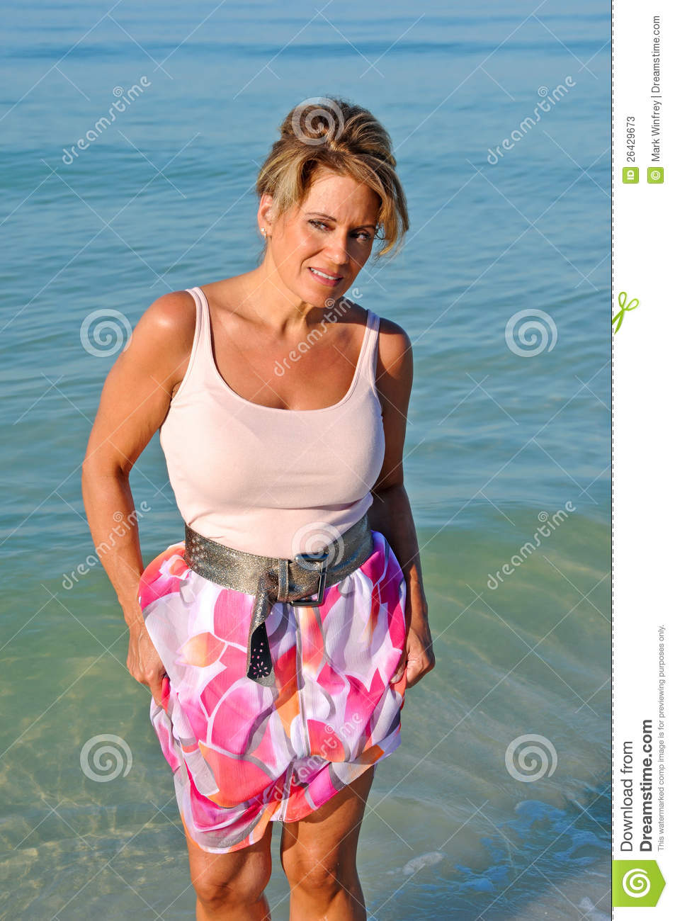 Attractive Woman Walking On The Beach Stock Image - Image ...