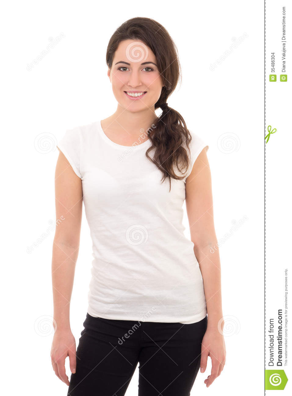 Attractive Woman In White T-shirt Smiling Isolated On White Stock ...