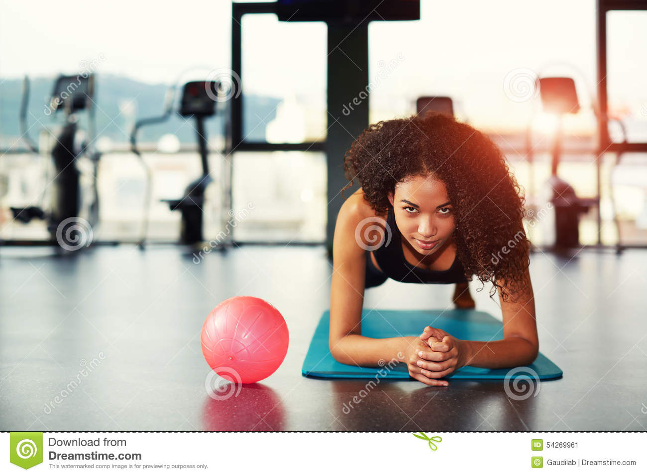 Download Attractive Woman Working Out With Abdominal Muscles At Gym Stock Image - Image of curly, black: 54269961