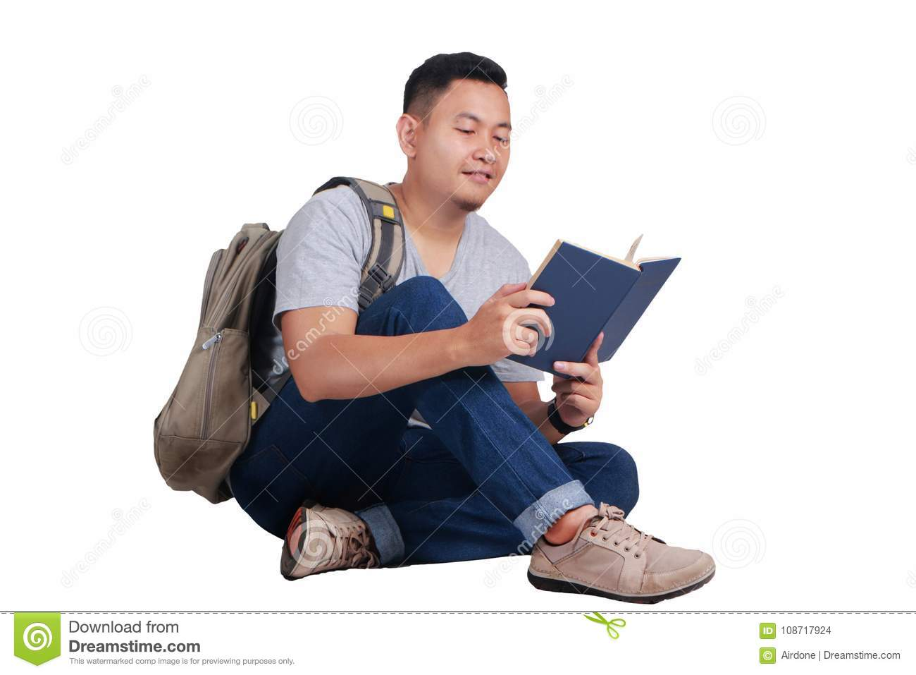 Young Student Reading Book Happy Smiling Gesture Stock
