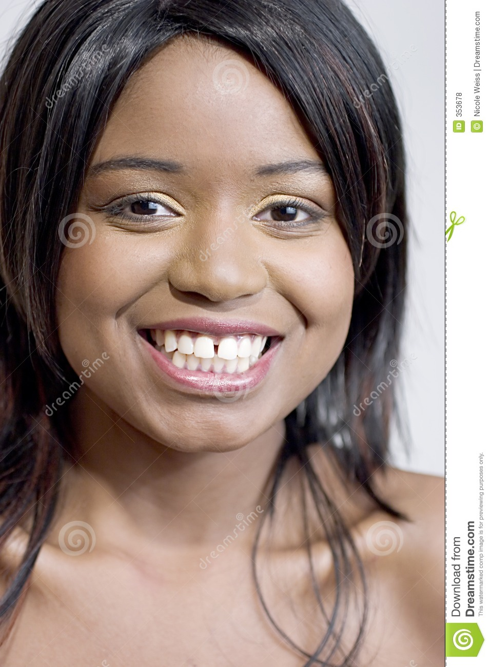 Young Black Teenage Men Playing Video Games: Attractive Young Black Woman Smiling Stock Photo