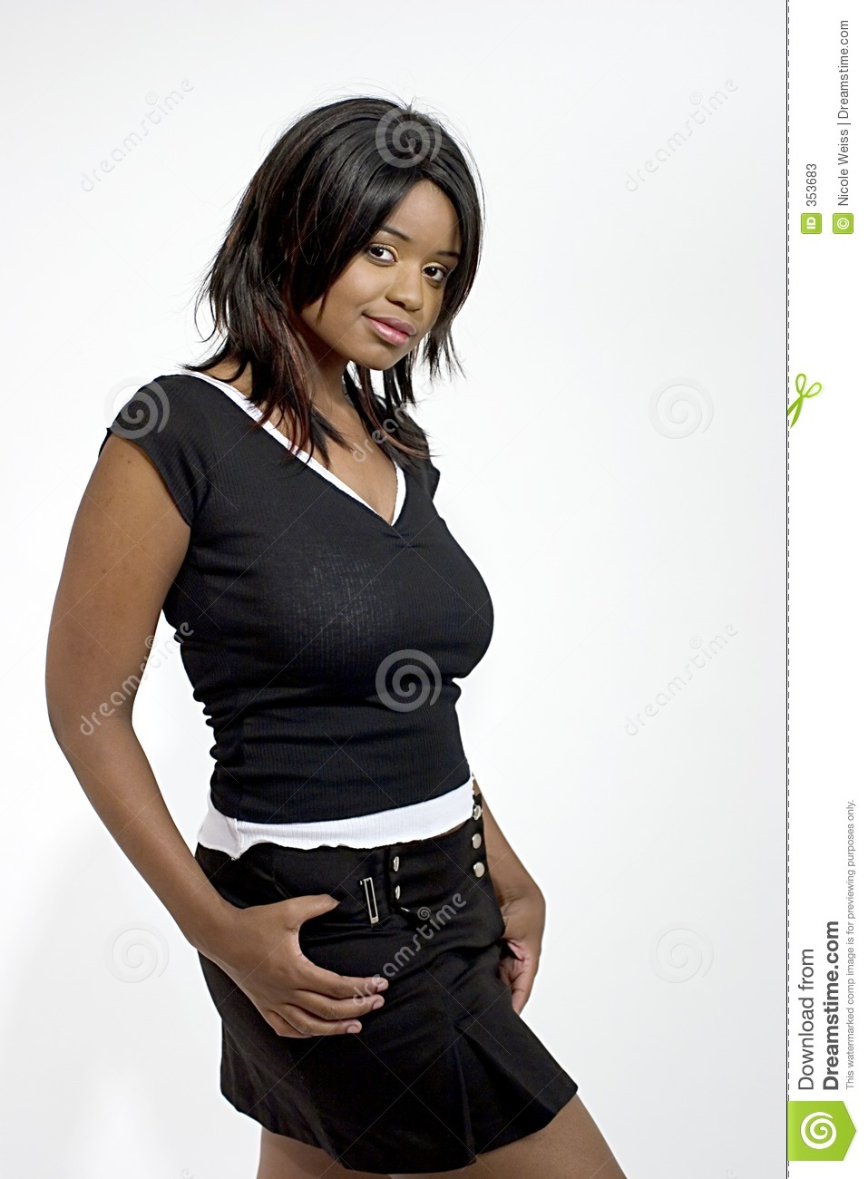 Original Beautiful Woman Wearing Black Leather Skirt Royalty Free Stock Images  Image