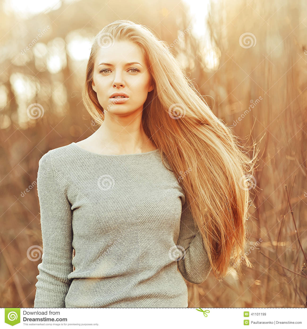 Attractive Young Blonde Woman With Perfect Long Chic Hair Stock