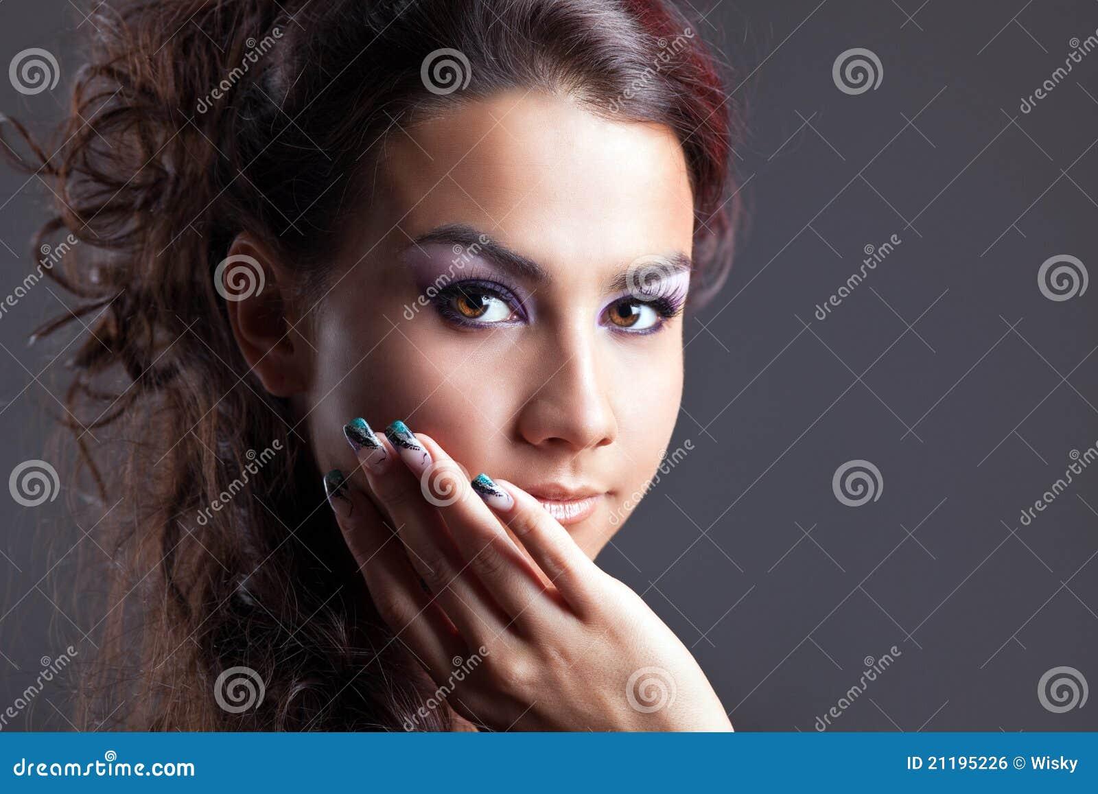 Attractive young brunette woman portrait