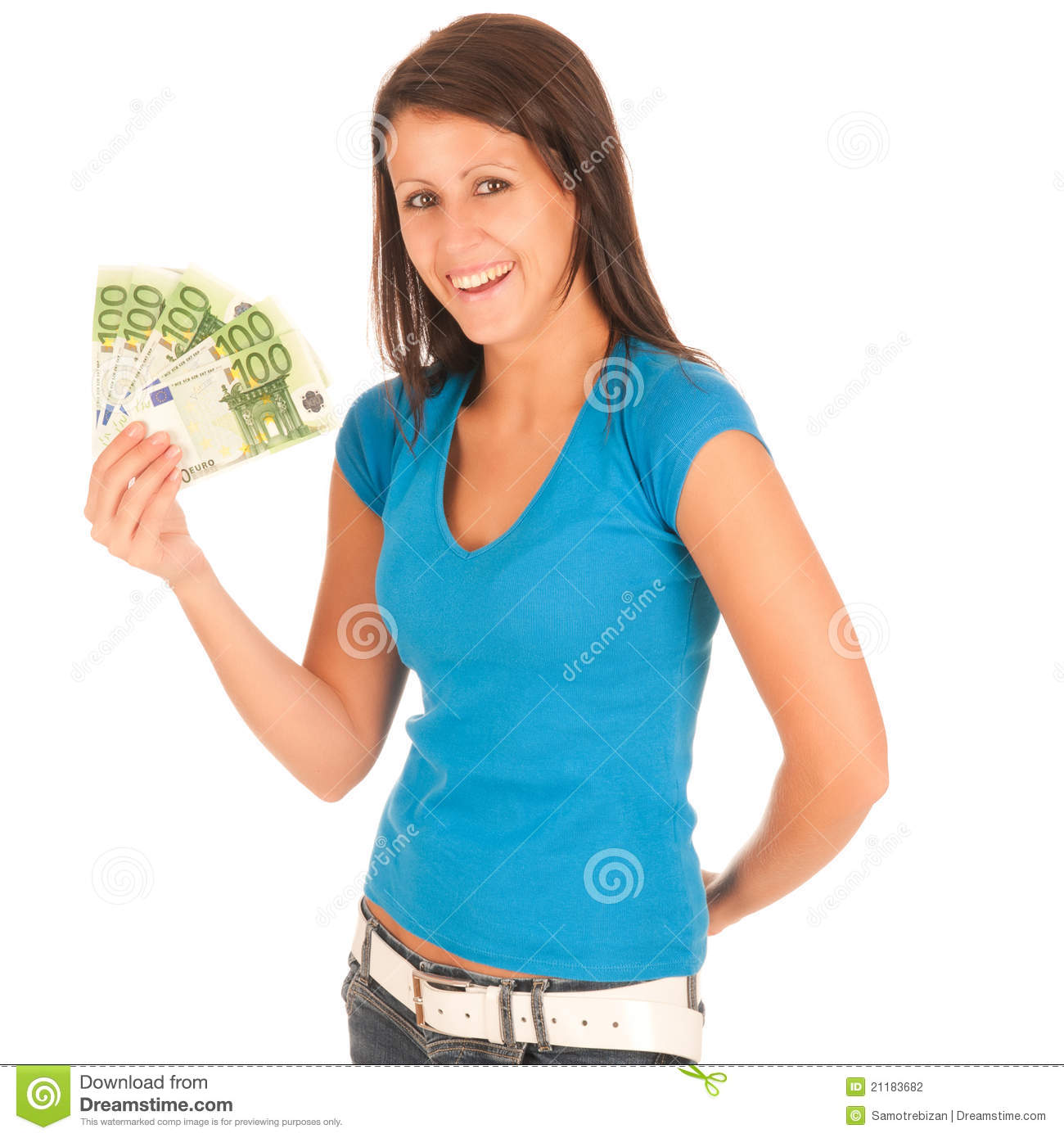 Attractive young girl with euro banknotes