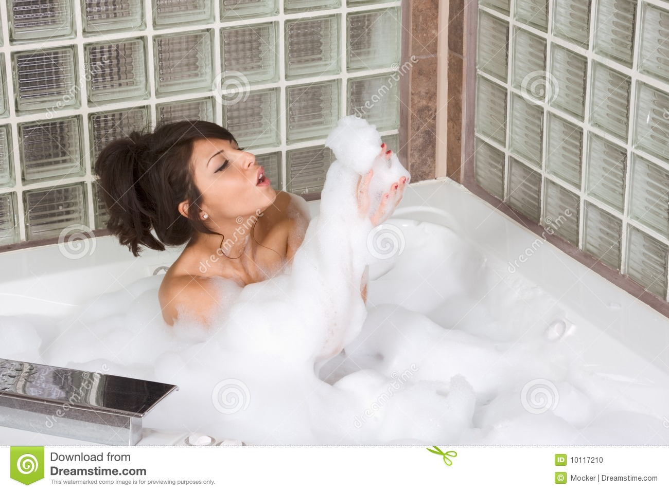 Attractive Young Gorges Woman Taking Bubble Bath Stock Photo - Image ...