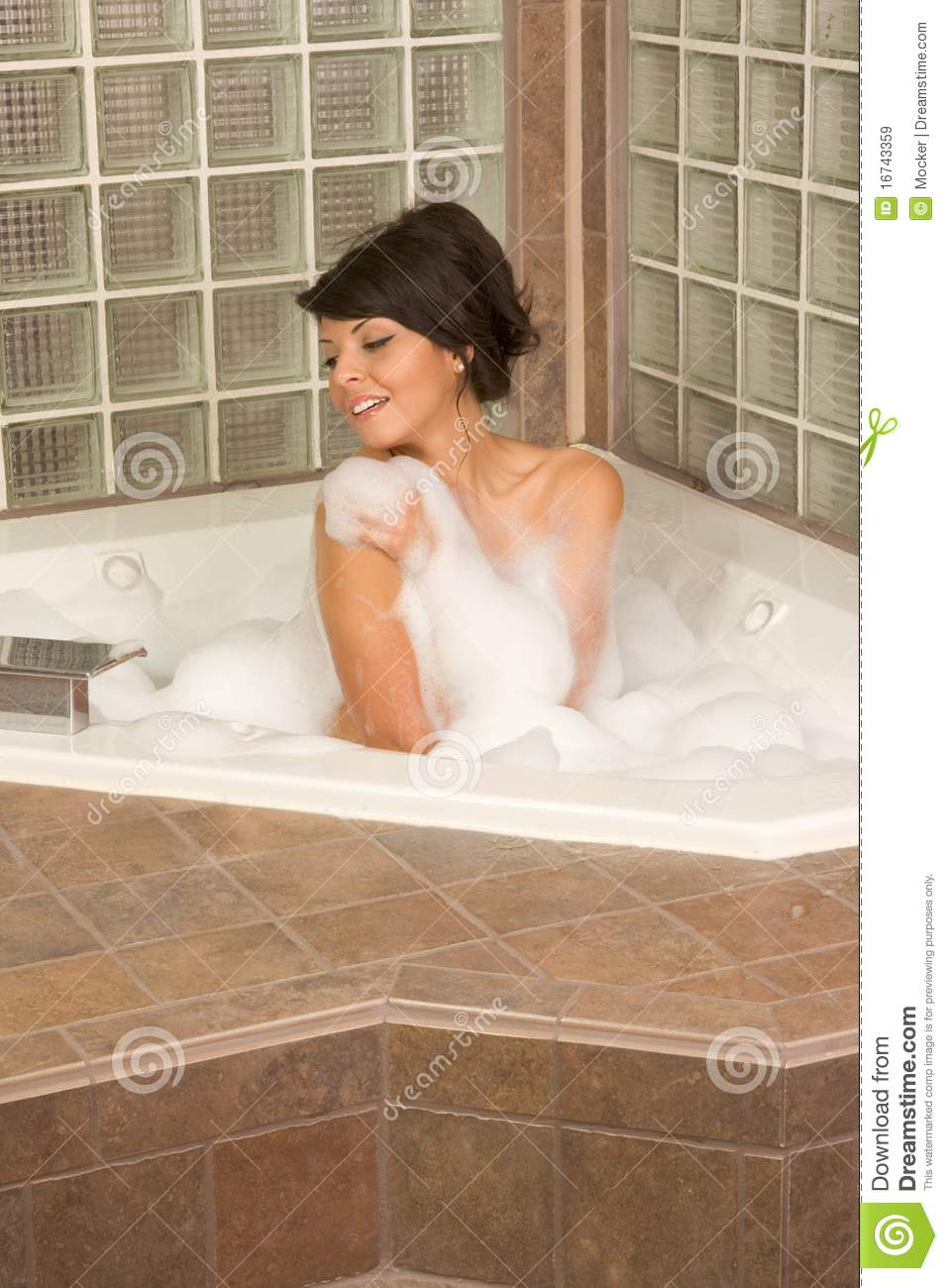 Attractive Young Gorges Woman Taking Bubble Bath Stock ...