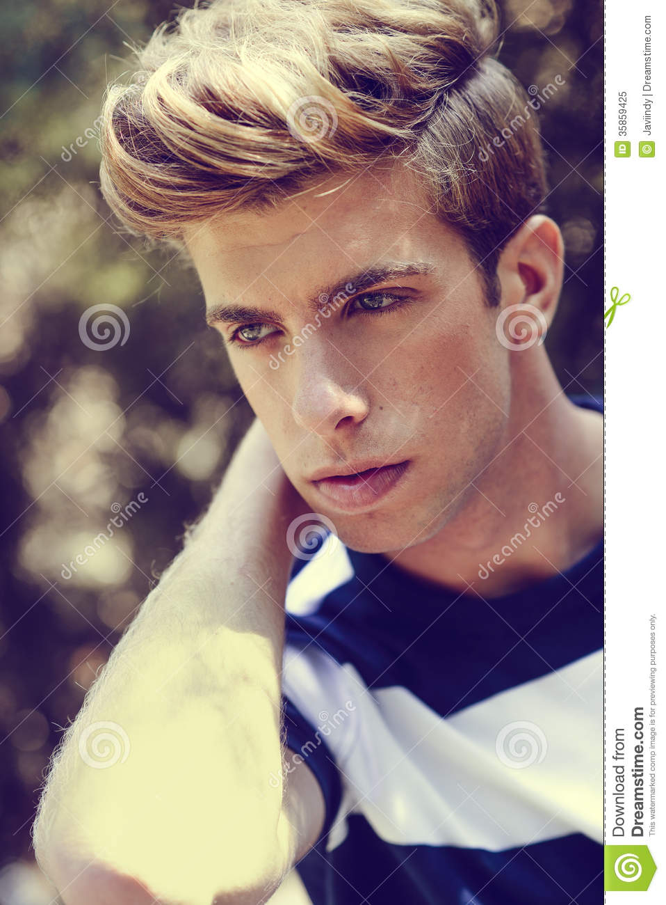 Attractive Young Handsome Man Model Of Fashion In Urban