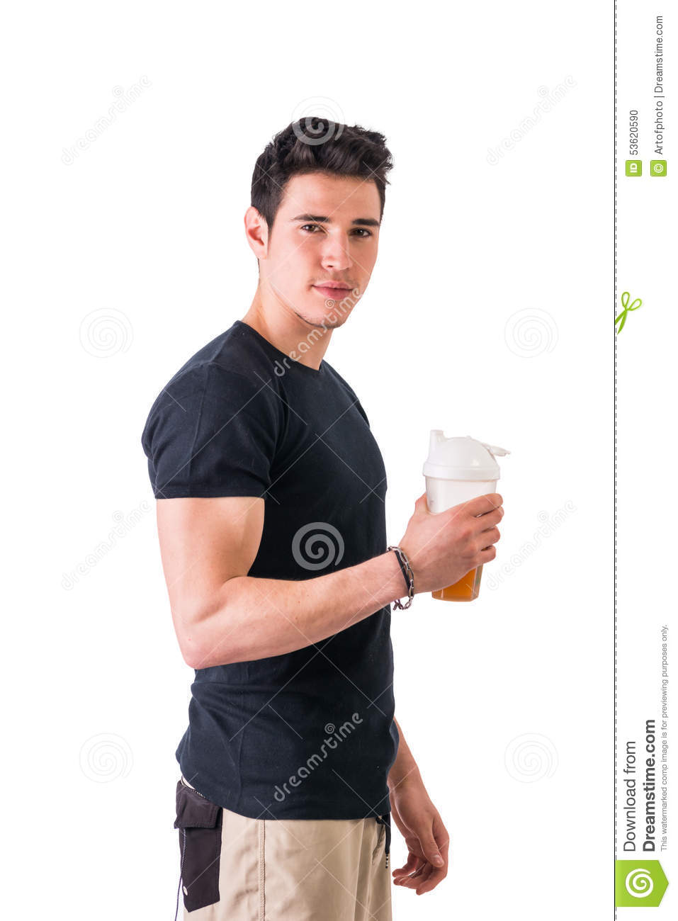 Attractive Young Man Holding Protein Shake Bottle Stock ...