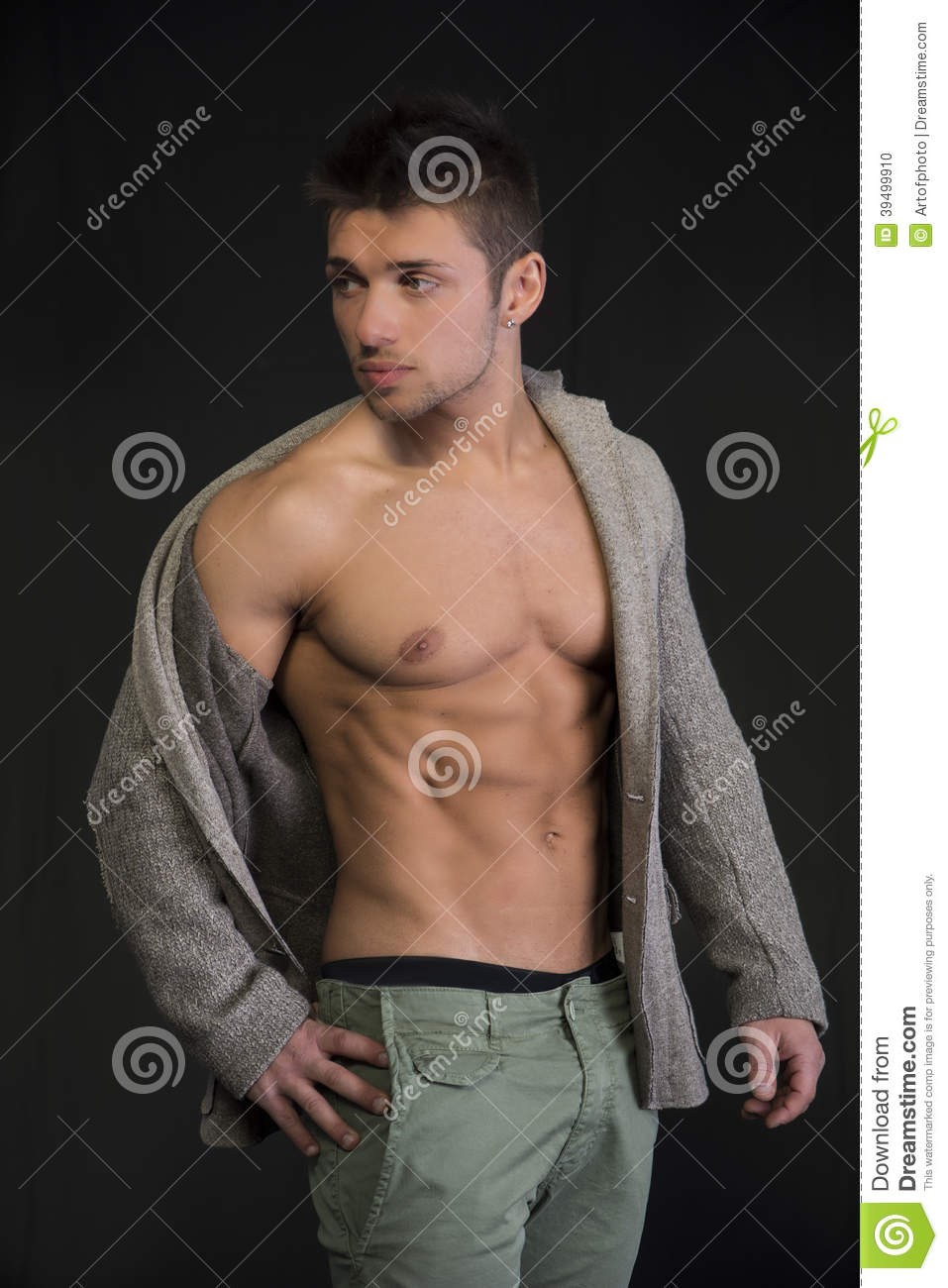 Attractive Young Man Open Jacket Muscular Torso Confident Ripped Abs Pecs Side View Stylish Guy Model