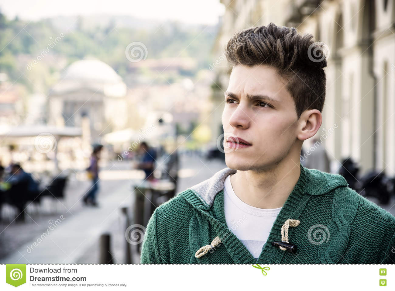 Attractive Young Man S Headshot In Urban Setting Stock Image