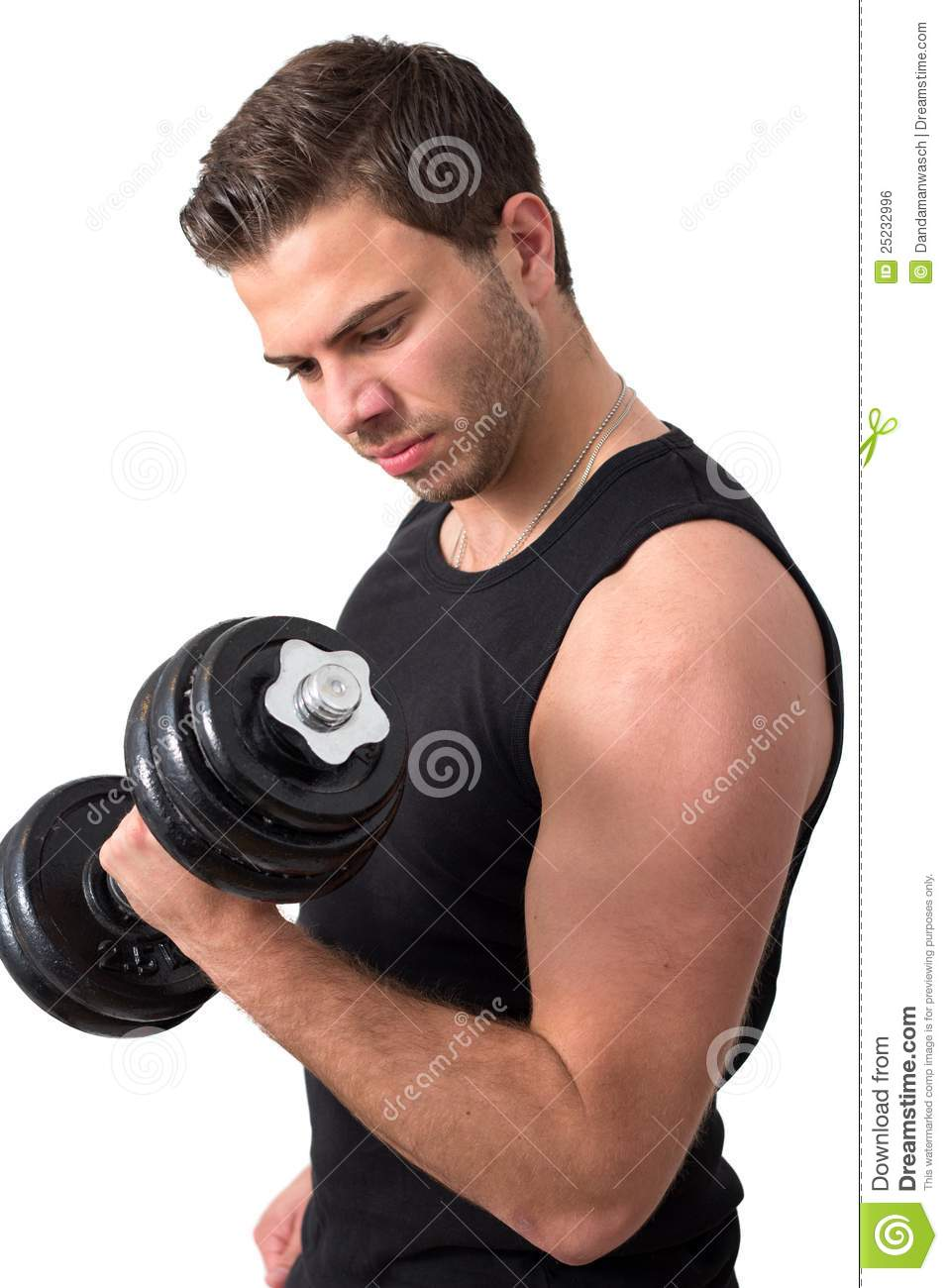 Attractive Young Man Working Out With Weights Royalty Free ...
