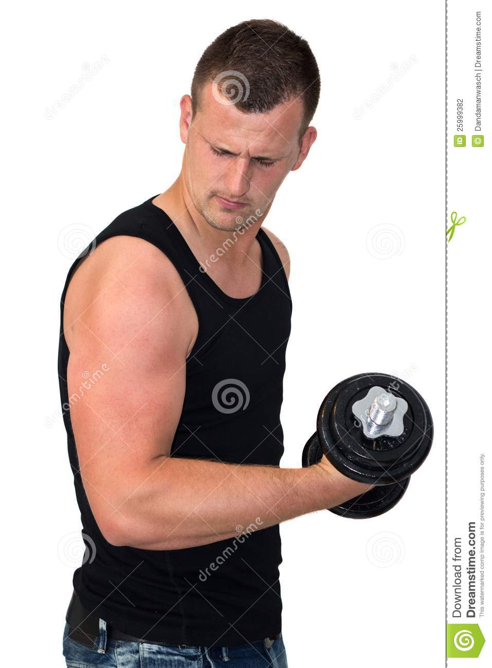 Attractive Young Man Working Out With Weights Stock Photo ...
