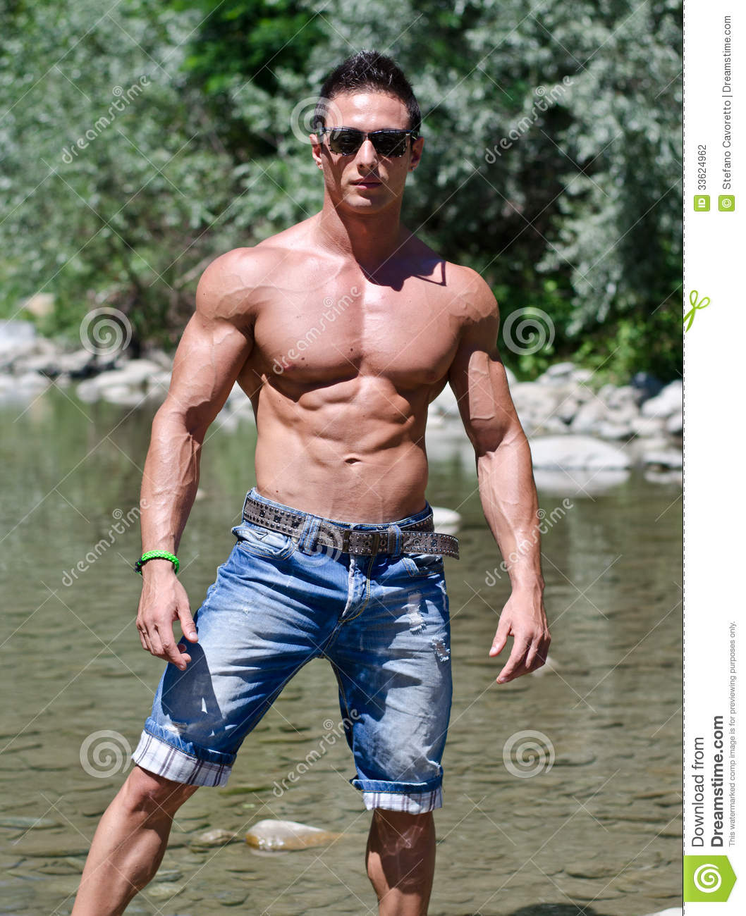 Attractive Young Muscleman In Water Pond Stock Photography - Image 33624962-2872