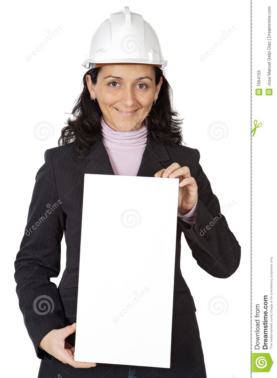 Attractive young person architect with a billboard in the for Charming personality