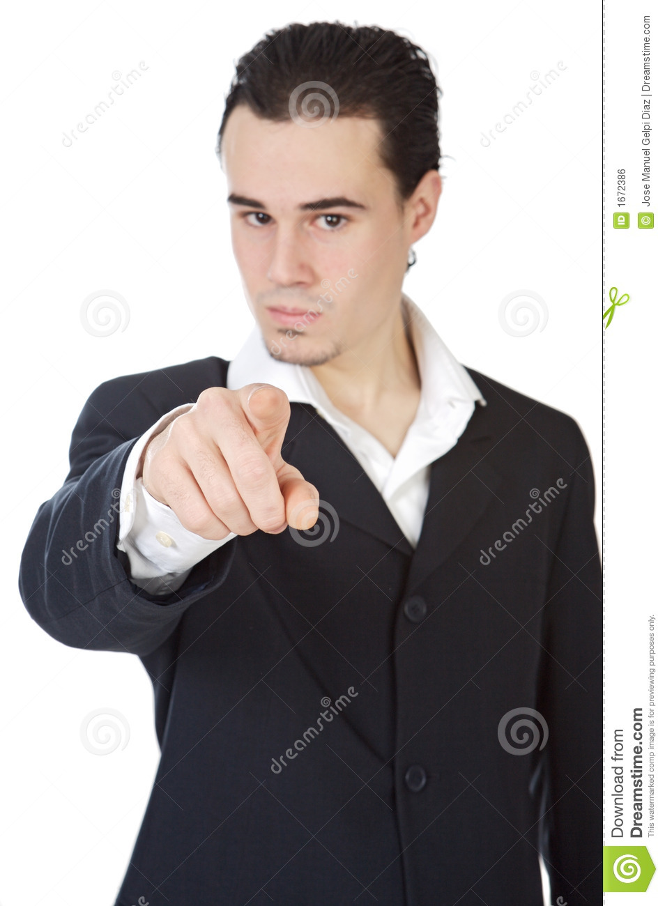 Attractive young person businessman indicating with the for Charming personality