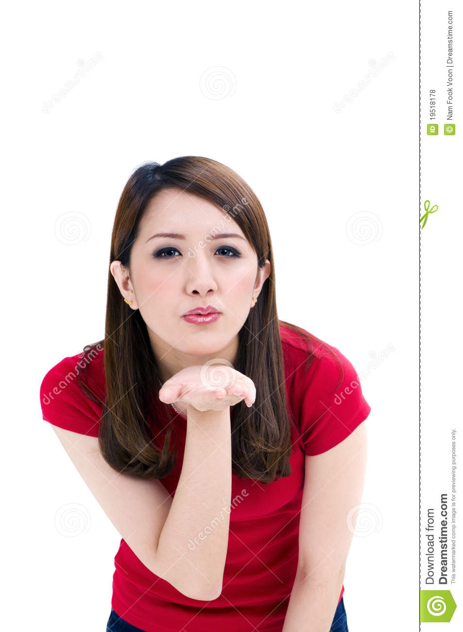 Attractive Young Woman Blowing A Kiss Stock Photo - Image ...