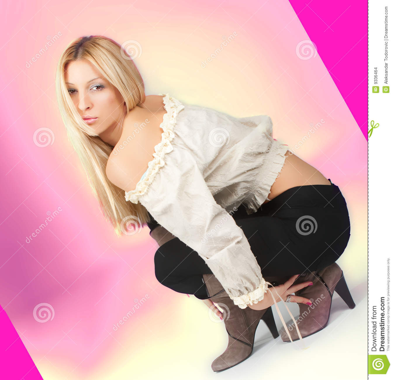 Attractive Young Woman Crouching Stock Photo - Image of .