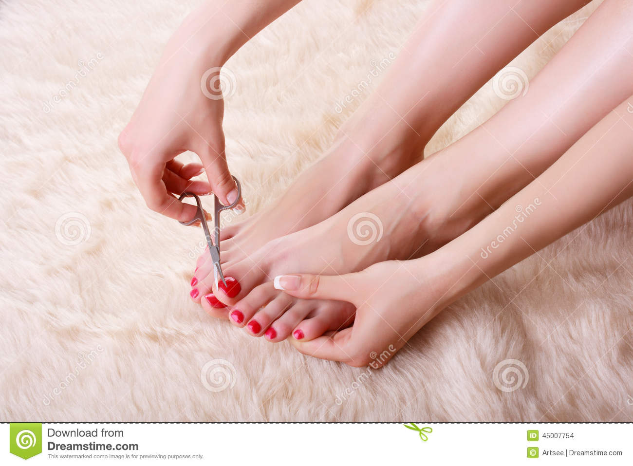 Attractive Young Woman Cutting Her Feet Nails Stock Photo - Image of ...