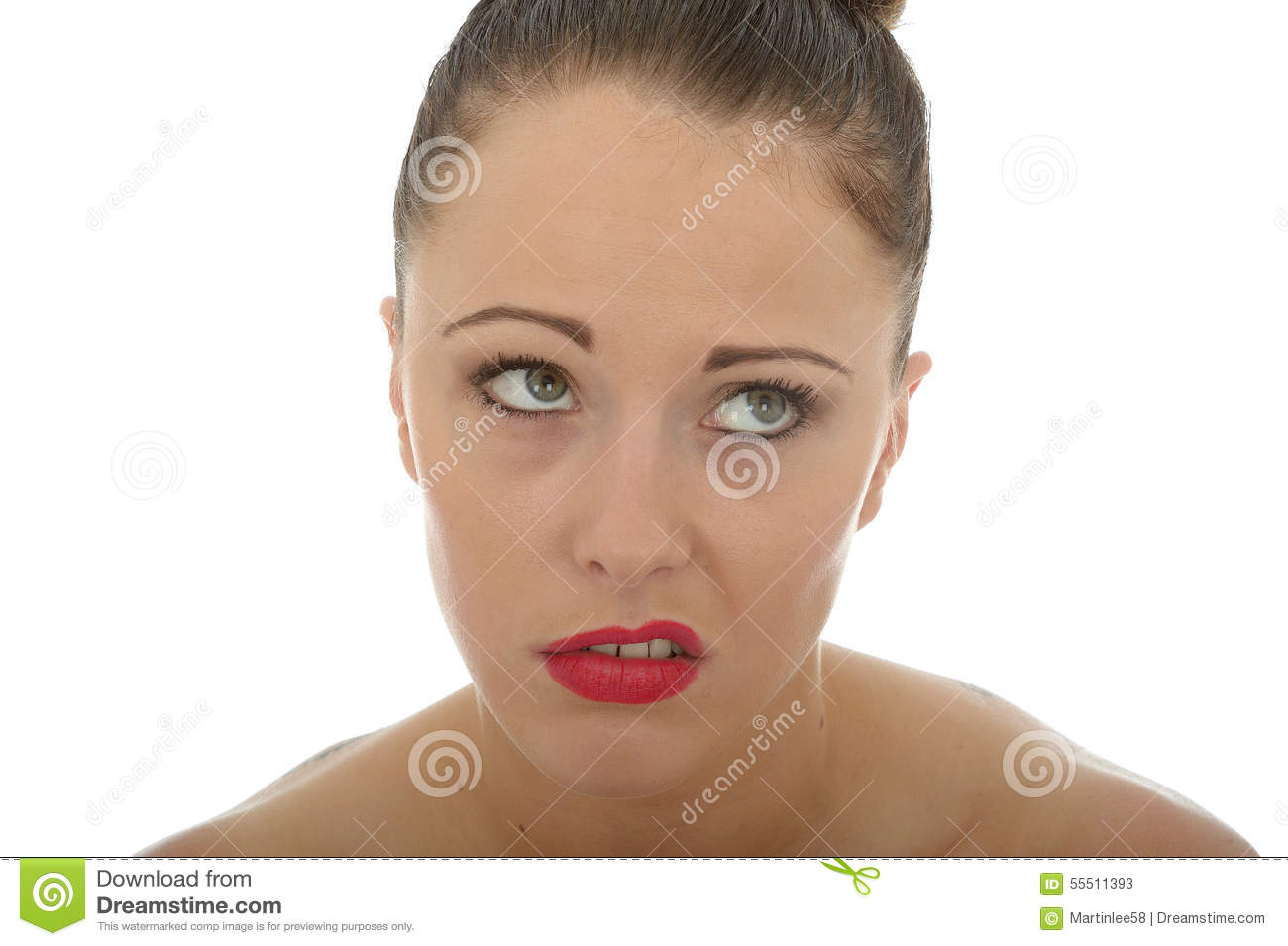 Attractive Young Woman Looking Very Fed Up Miserable and Bored