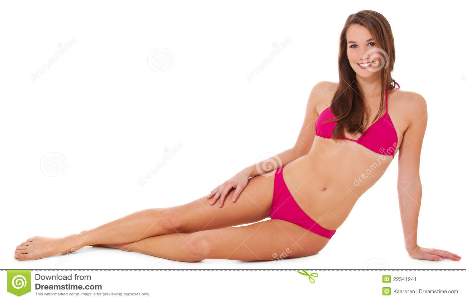Attractive Young Woman In Pink Bikini Stock Image