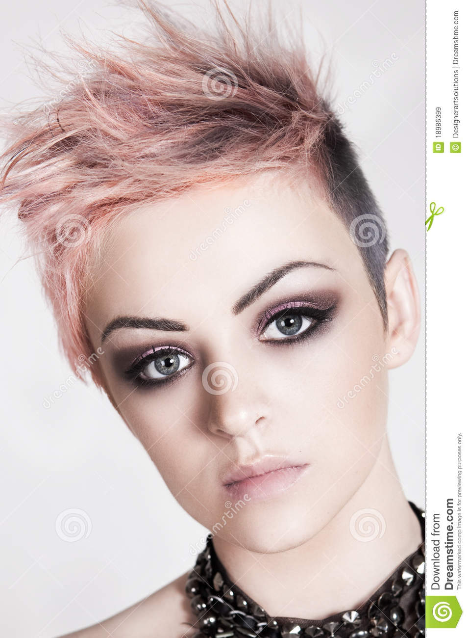 Attractive Young Woman With A Punk Hairstyle Stock Image Image Of