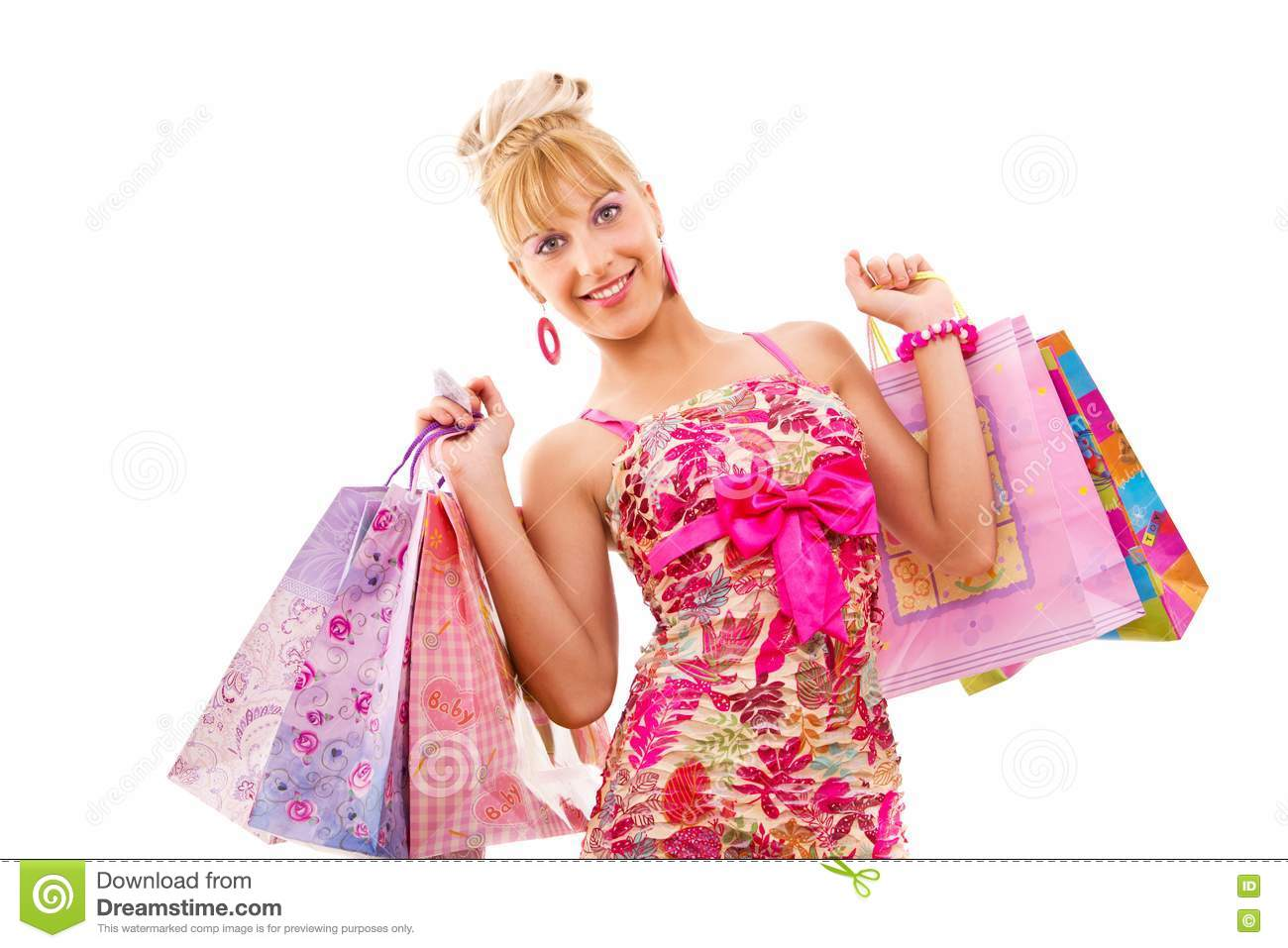 Simple  Woman Wearing Blue Dress And Holding Colorful Shopping Bags Up In Air