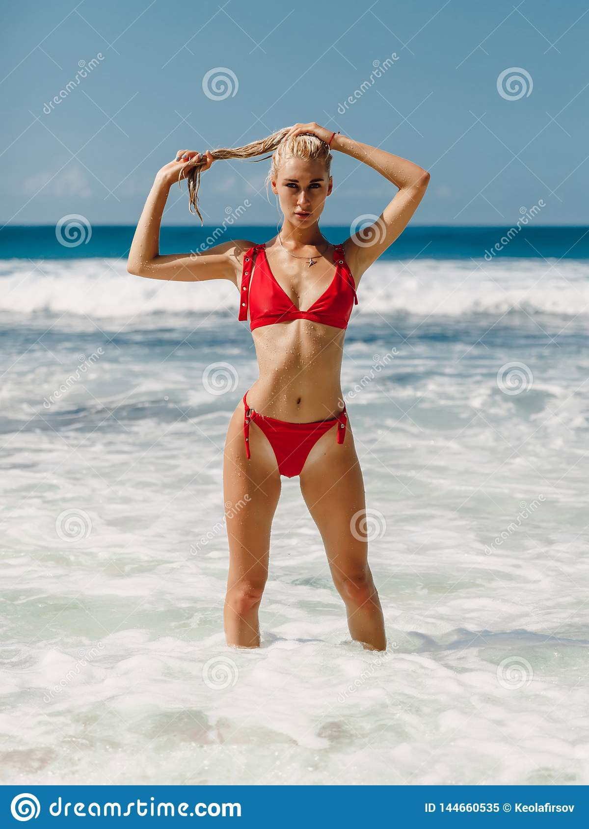 885461a9e3 Attractive Young Woman In Swimwear At Ocean Beach Stock Image ...