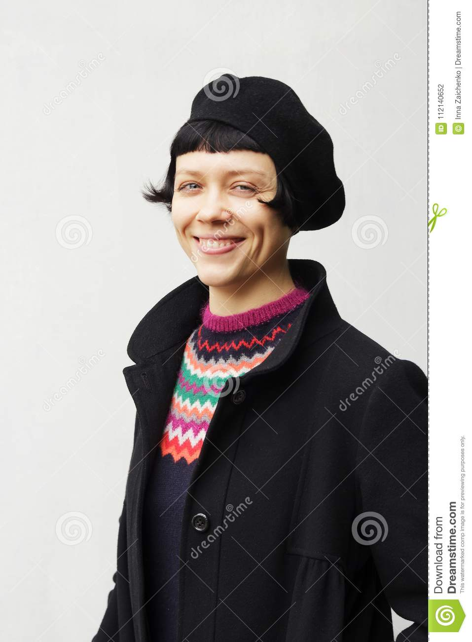 eac5534aa7dd2 Attractive Young Woman Wearing A Beret Stock Photo - Image of fresh ...