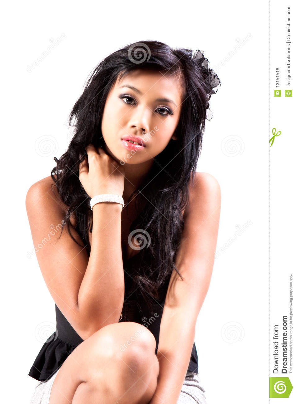 Attractive Young Woman Wearing Denim Skirt. Isolat