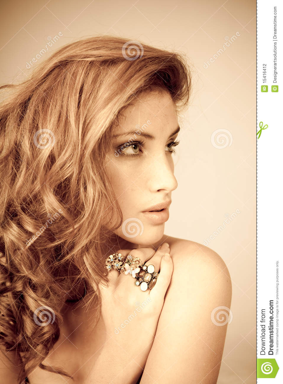 Attractive Young Woman Wearing Ornate Rings