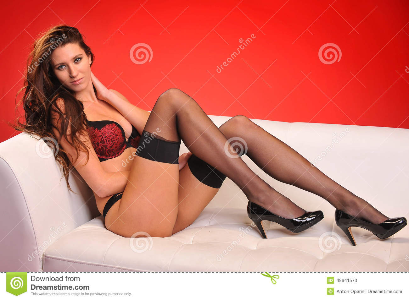 Attractive young woman wearing lingerie posing on the sofa