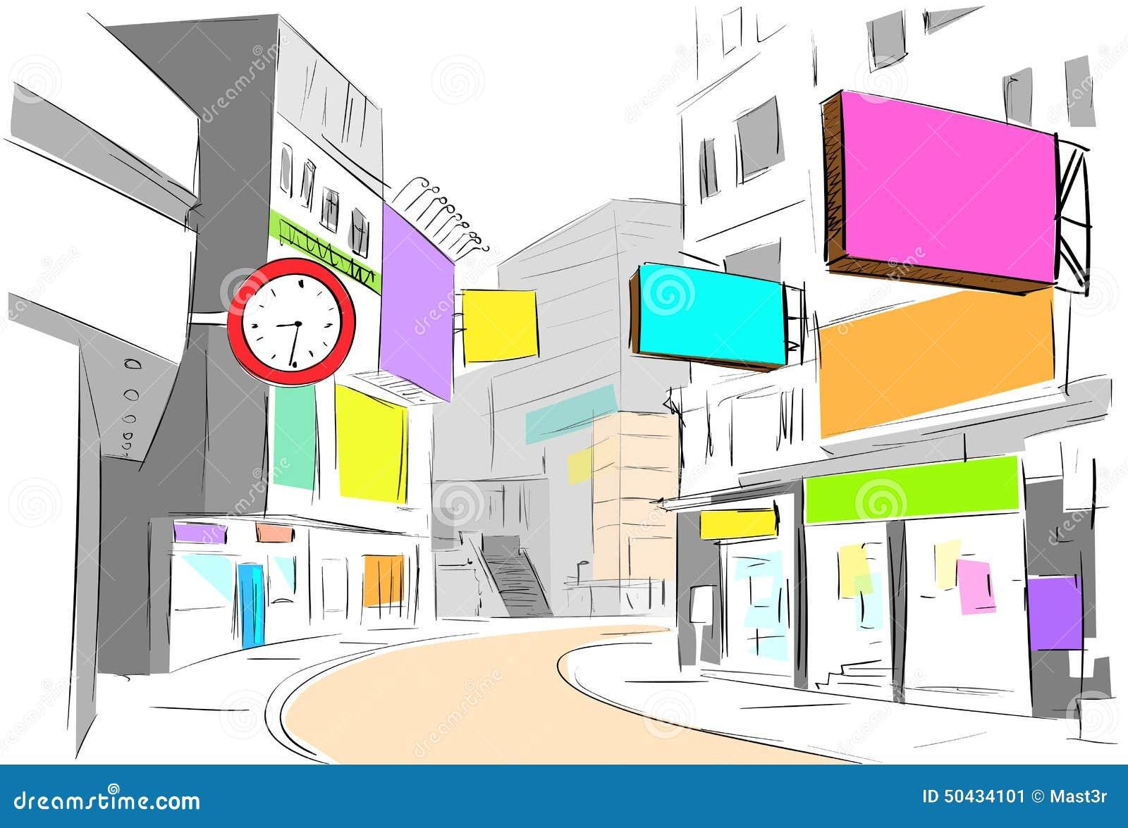 Attraktion för sikt för gatamittstad skissar shoppar färgrikt