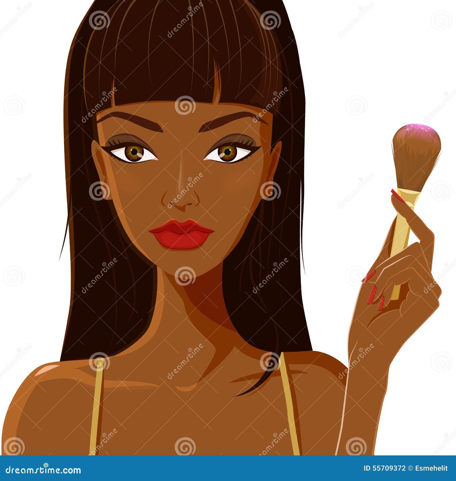 Attraktiv kvinna som applicerar rodnad Mode makeup