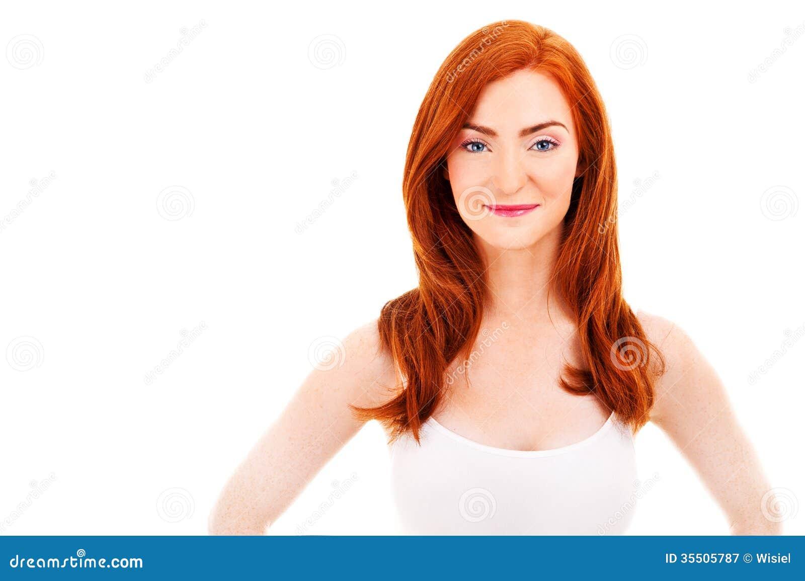 Attraktive Frau im roten Haar