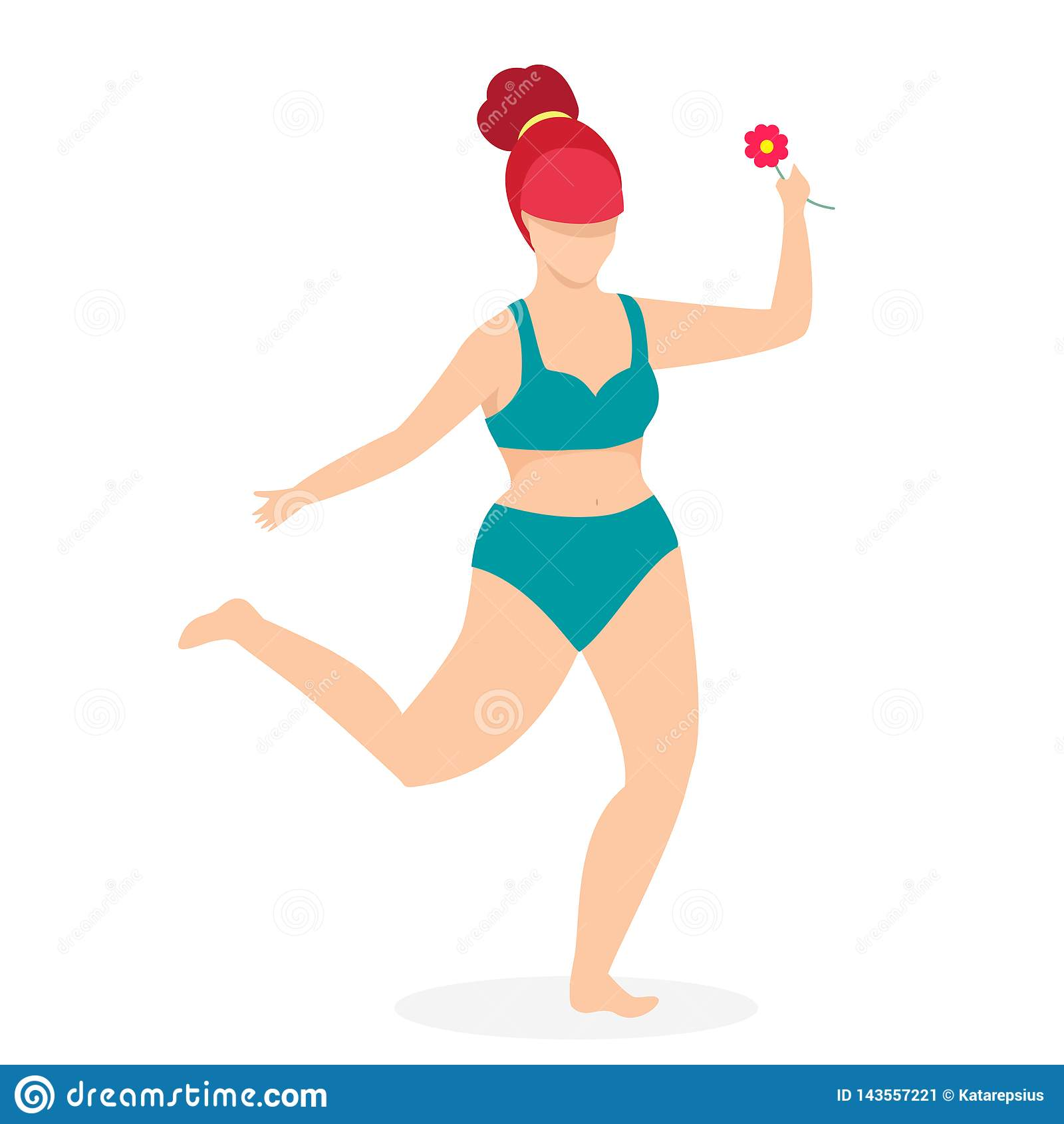 Attrayant plus la femme de taille dans la danse de vêtements de bain