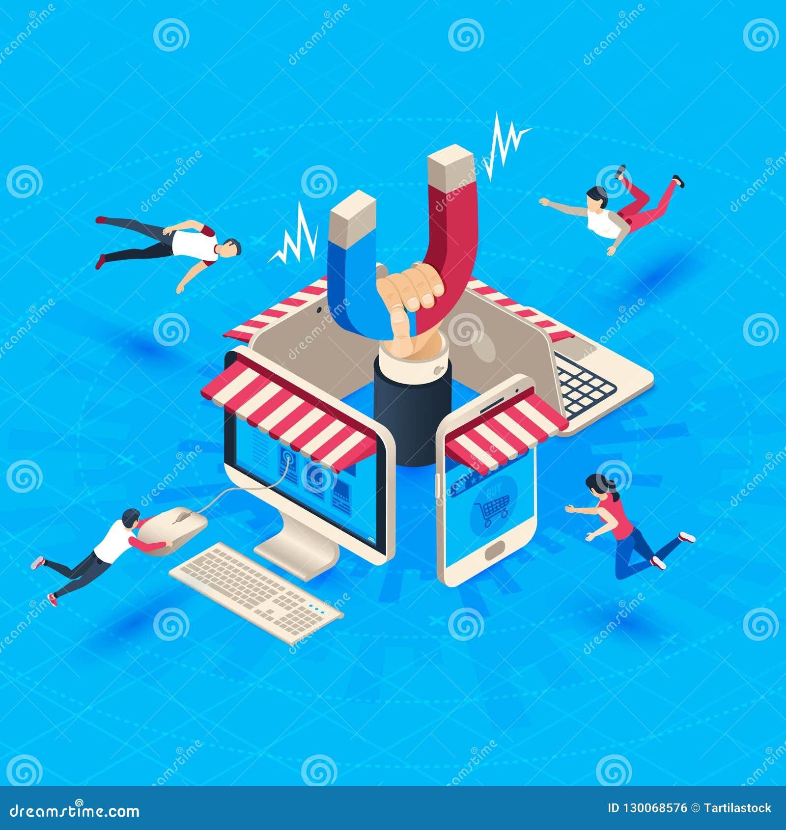 Attrazione del cliente del deposito di web Attiri i compratori, isometrici conservi i clienti leali ed il vettore sociale di vend
