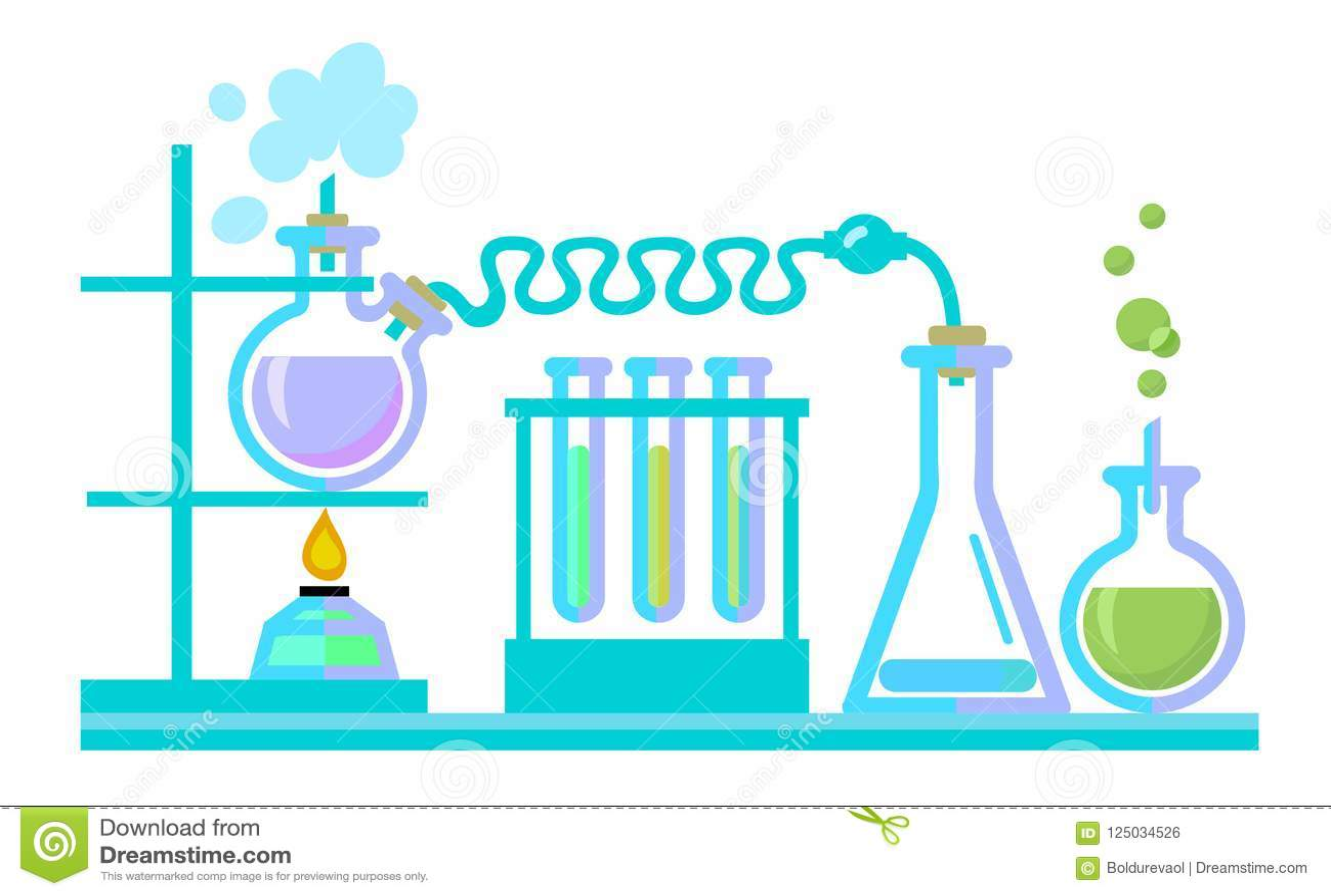 Attrezzatura di laboratorio di scienza chimica Provette, boccette, spiritlam vectot