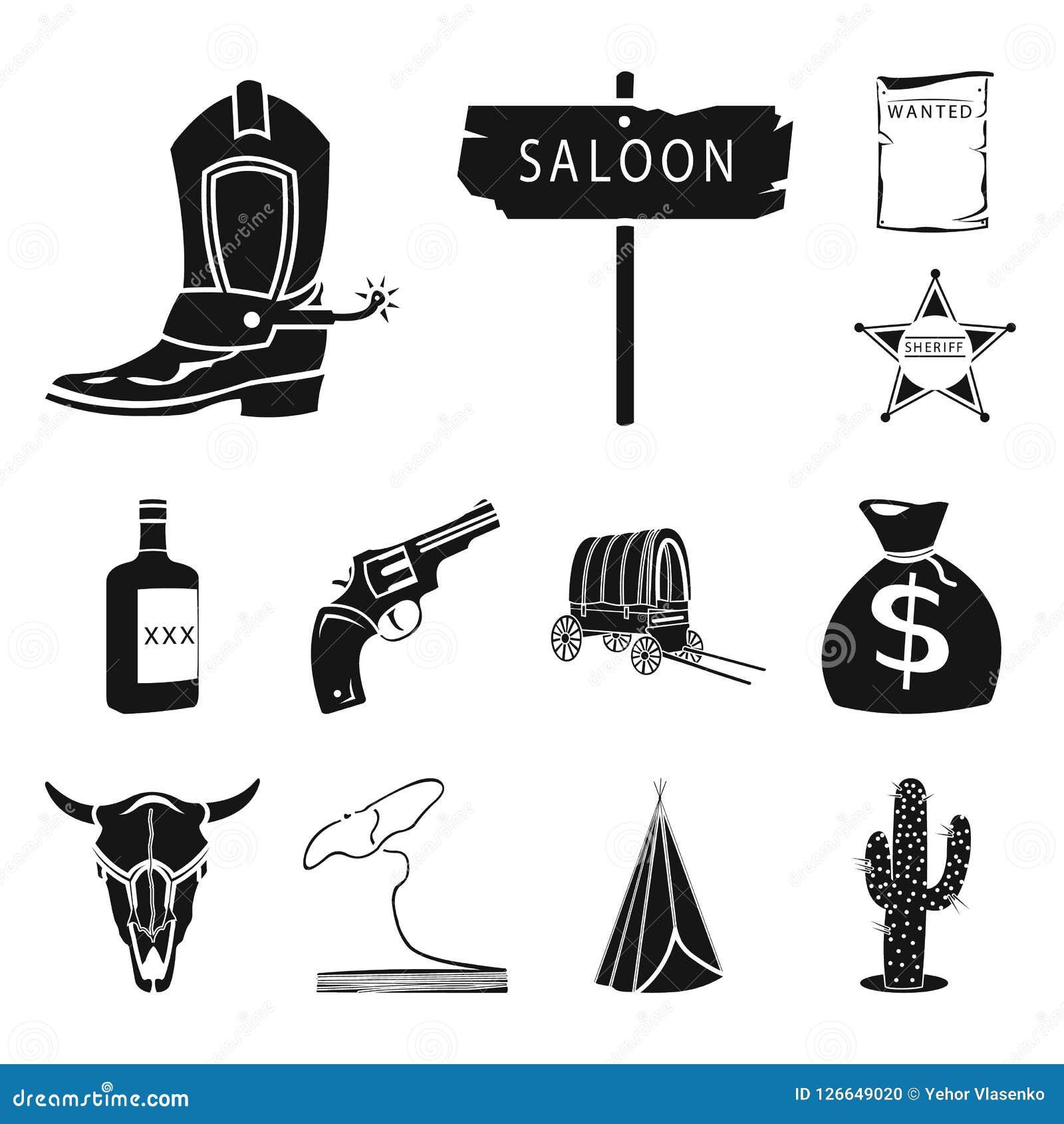 Attributs des icônes noires occidentales sauvages dans la collection d ensemble pour la conception Web d actions de symbole de ve