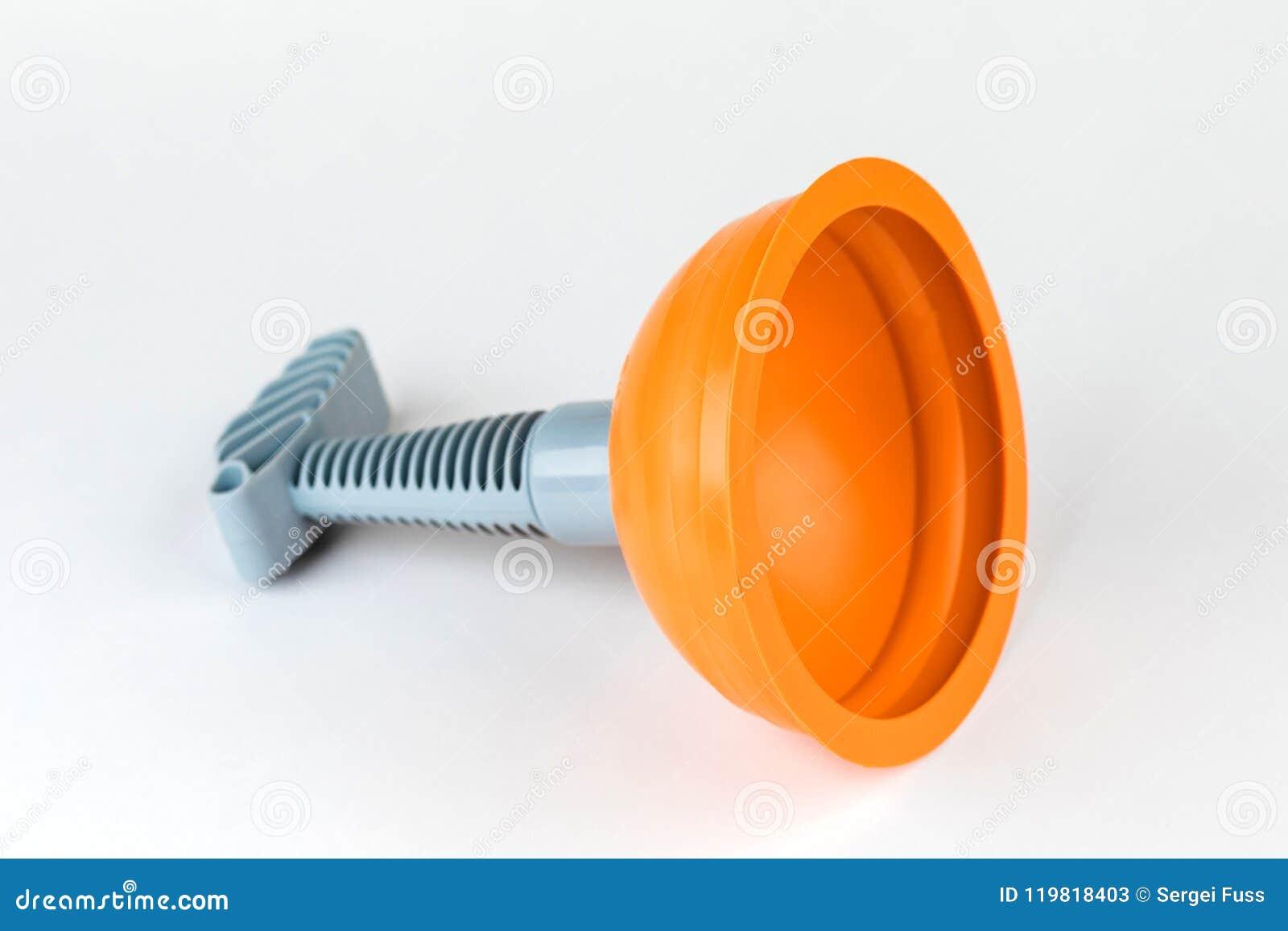 Atuador & x28; plunger& x29; laranja para o toalete de limpeza no fundo branco