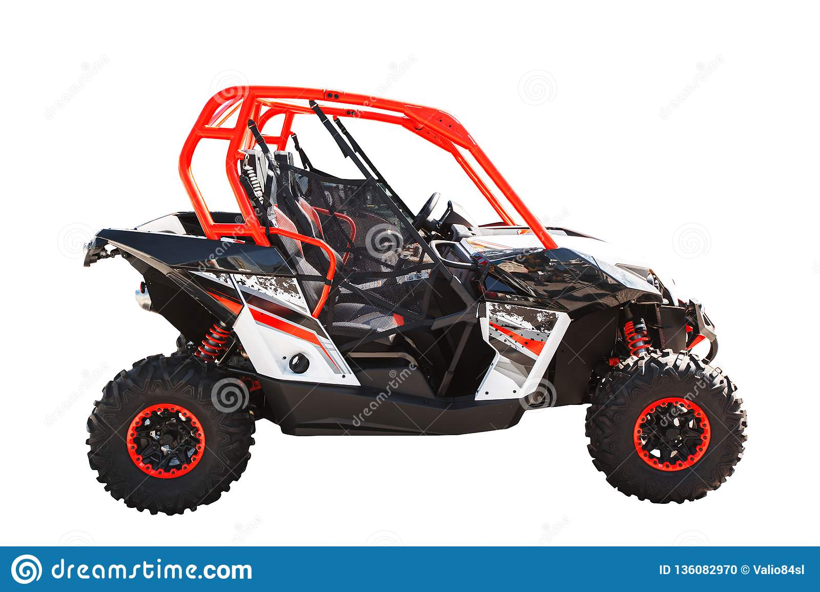 ATV Quad Bike Or Buggy Car Isolated On White Background With