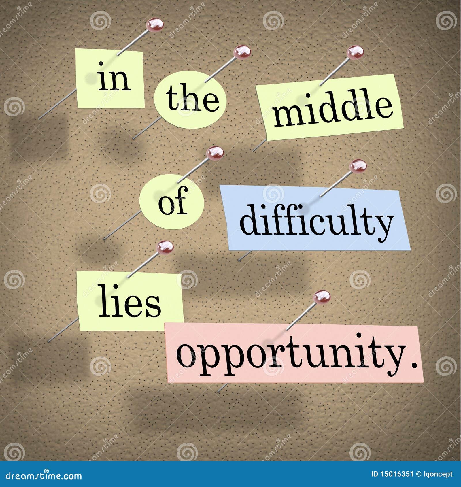 Au milieu de la difficulté se trouve la possibilité