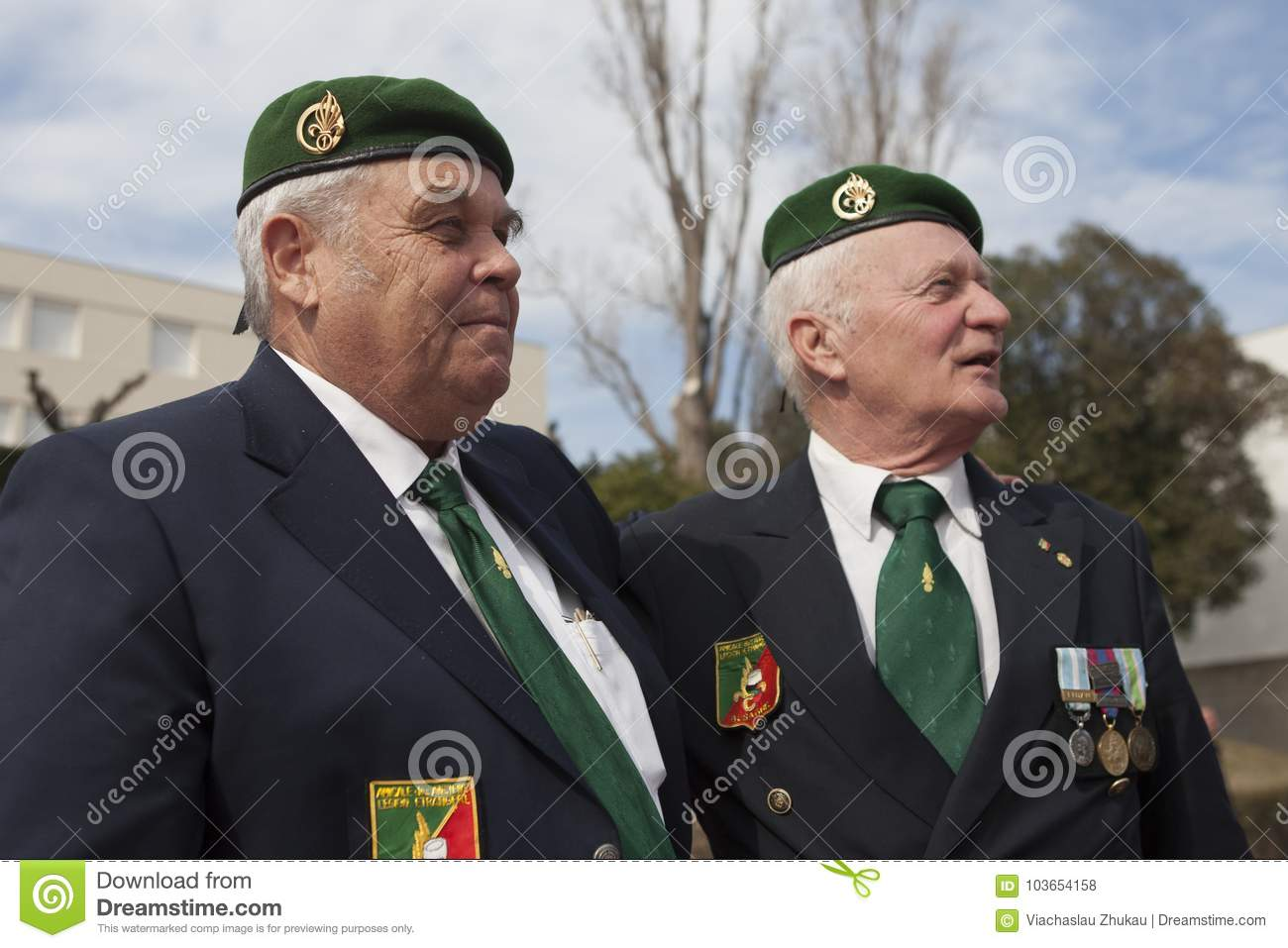 Aubagne France May 11 2012 Portrait Of Veterans Of The French