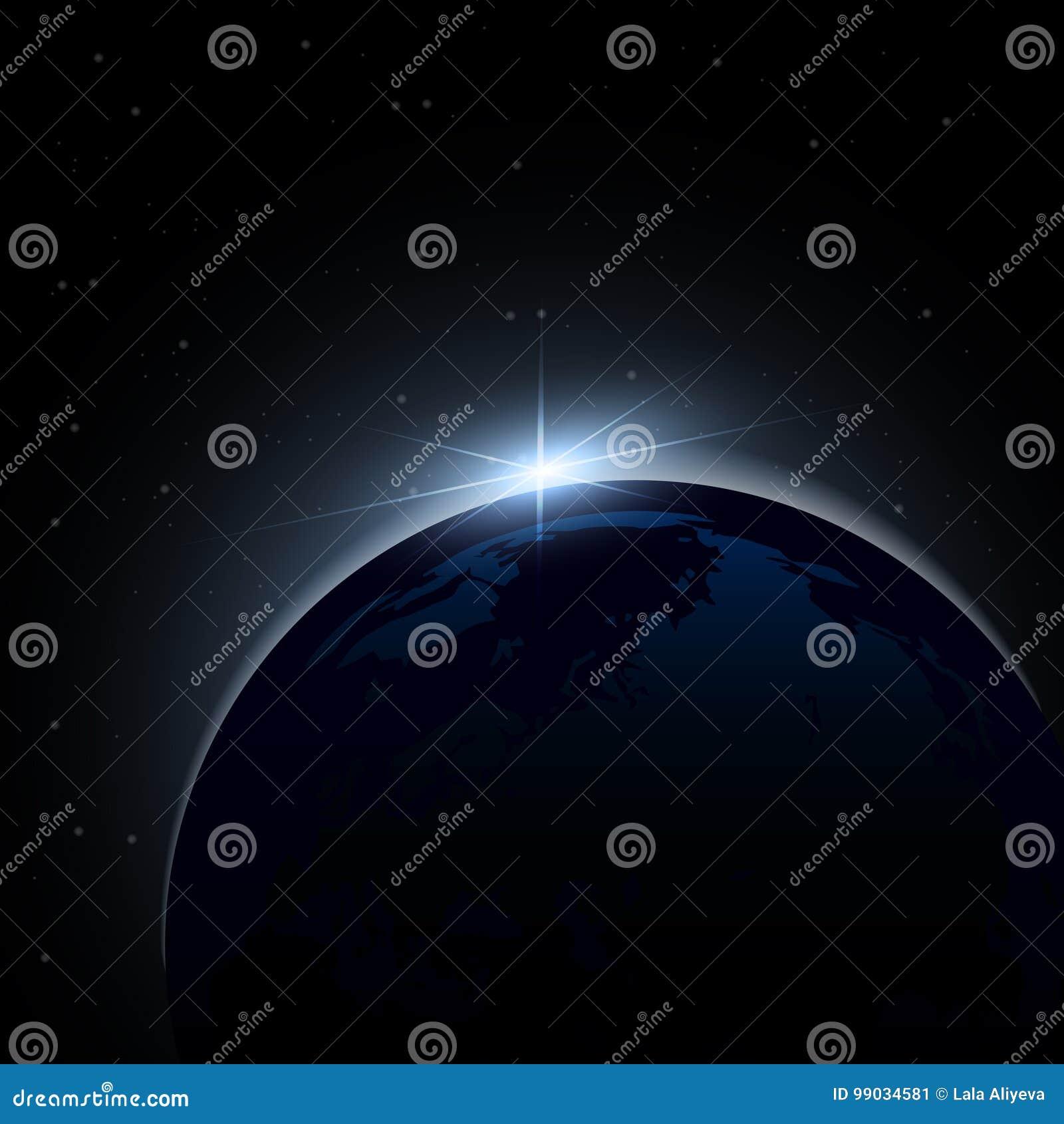 Aube de l espace Aube de l espace Soleil Levant derrière la terre Fond de vecteur