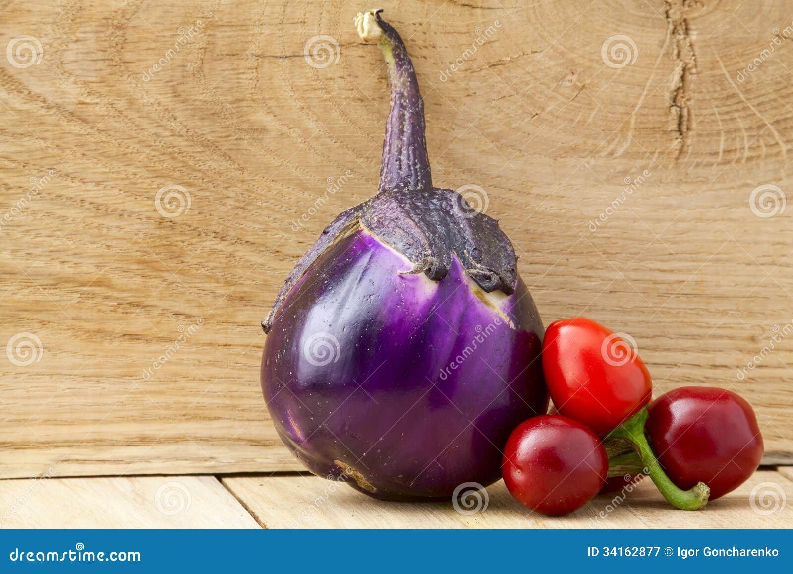 Aubergine en peper