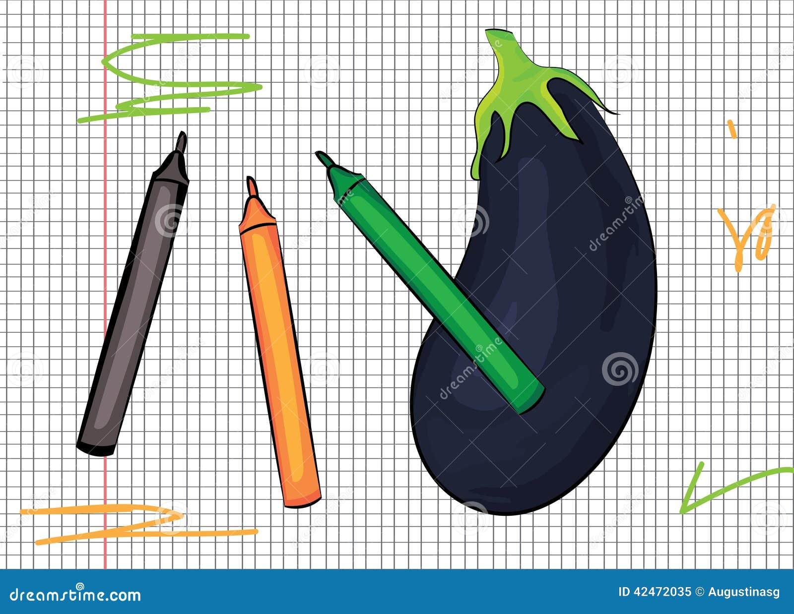 Aubergine gezeichnet auf Papierillustration