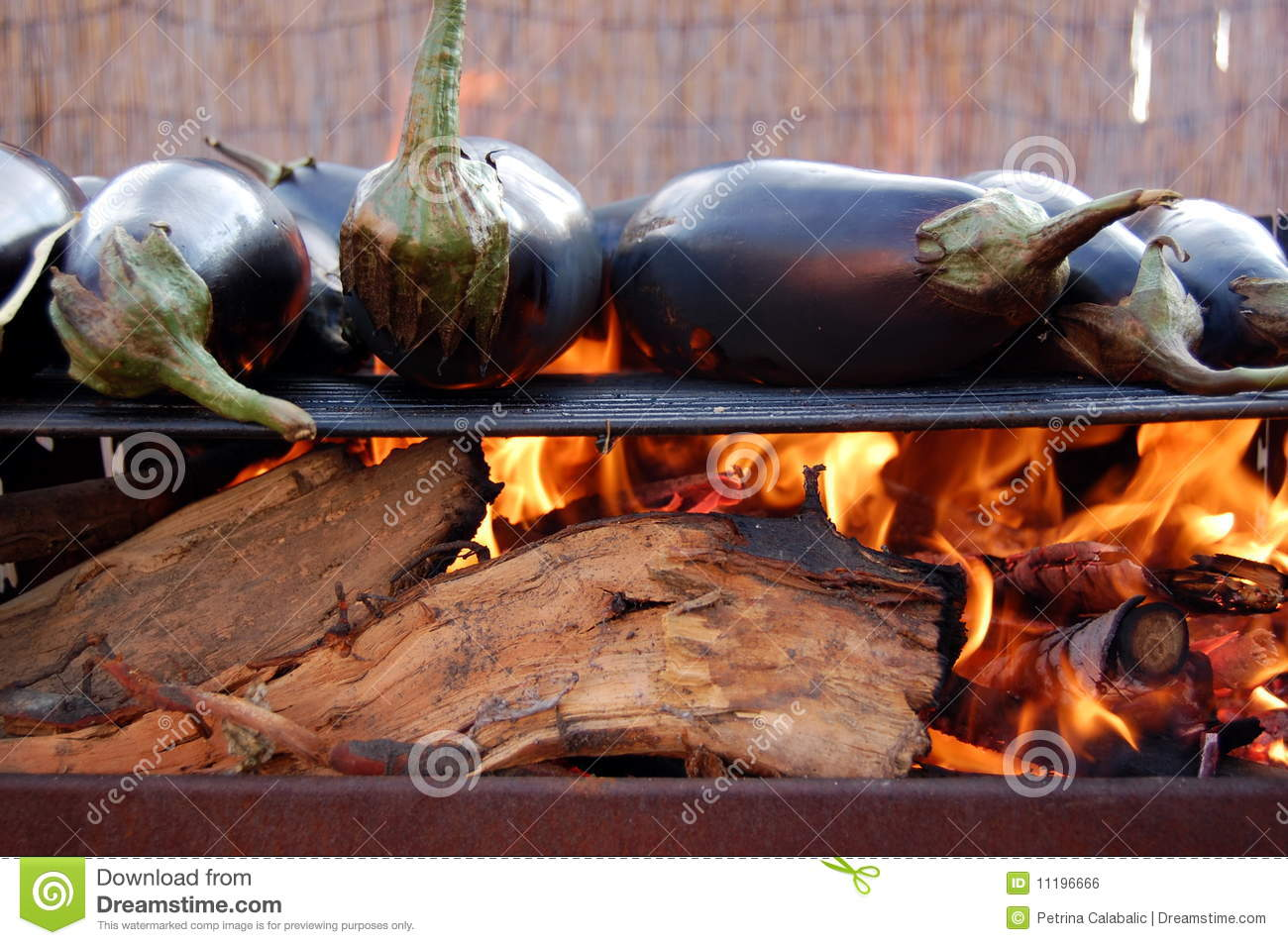 Aubergines on grill